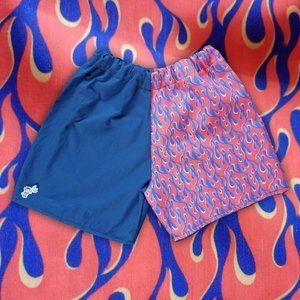 Custom Handmade Orange Flame Print Shorts